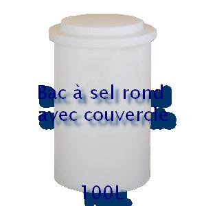 Bac à sel rond avec couvercle 100L