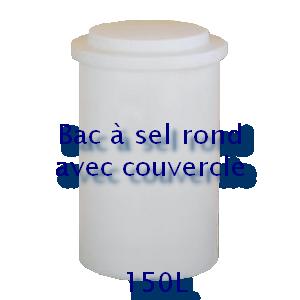Bac à sel rond avec couvercle 150L