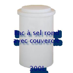 Bac à sel rond avec couvercle 200L